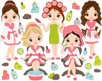 Vector Spa Set with Young Girls and Spa Elements. Vector spa set. Set includes beautiful young girls taking spa treatment. Vector girls with various hair styles royalty free illustration
