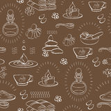 Vector spa themed seamless pattern with accessory on brown background. Royalty Free Stock Photo
