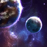 Vector space background with Moon and Earth Stock Image