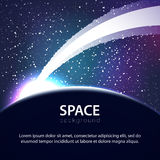Vector space background with planet and meteorite Royalty Free Stock Image