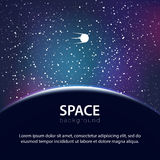 Vector space background with planet and satellite Stock Photo