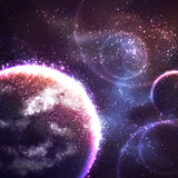 Vector space background with unknown planet Royalty Free Stock Images