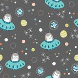 Vector space cats and solar system seamless repeat pattern background. stock illustration