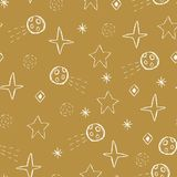 Vector space doodles,stars, comets, asteroids seamless repeat pattern. Vector space doodles,stars, comets and asteroids on gold seamless repeat pattern royalty free illustration