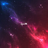 Vector space galaxy background. Colourful violet-red nebulae with bright stars. Stock Image