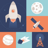 Vector space icons in flat style Stock Photography
