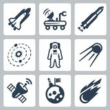 Vector space icons Royalty Free Stock Photos