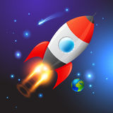 Vector Space Rocket. Journey to the unknown Royalty Free Stock Images