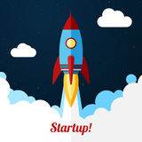 Vector. Space rocket launch. Concept for startups Royalty Free Stock Photography