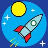 Vector space sci-fi retro rocket illustration Stock Photo