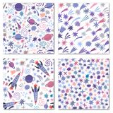 Vector space seamless pattern background set. Isolated Stock Image