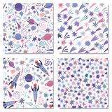 Vector space seamless pattern background set. Isolated Stock Images