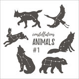 Vector space set with cosmic animals. Hand drawn silhouettes of animals in hipster style. Royalty Free Stock Image