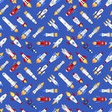 Vector spaceship technology ship rocket space vehicle shuttle cartoon seamless pattern background.  Stock Image