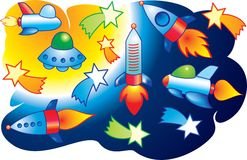 Vector spaceships and stars flying into space Royalty Free Stock Photo