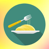 Vector spaghetti fork flat icon Royalty Free Stock Photos