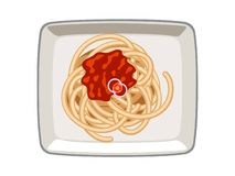 Vector Spaghetti Tomato Sauce in Plate on White Background stock illustration