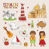 Vector Spain Doodle Art for Travel and Tourism Royalty Free Stock Photo
