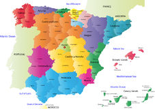 Vector Spain map. Spain map designed in illustration with the regions colored in bright colors and with the main cities. On an illustration neighbouring