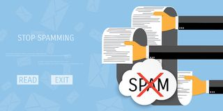 Vector spamming web icon. Vector spamming web flat background. Global communication. Social network. Concepts for web banners and promotional materials stock illustration