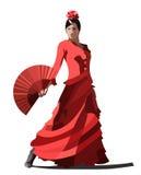 Vector spanish girl dances a flamenco. Vector spanish girl in red dress dances a flamenco Stock Photos