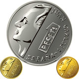 Vector Spanish  money gold and silver coin one pes. Spanish money peseta gold and silver coin with the profile of the monarch Juan Carlos 1 Royalty Free Stock Photography
