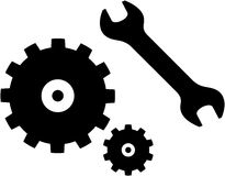 Vector spanner and gears illustration Royalty Free Stock Photography
