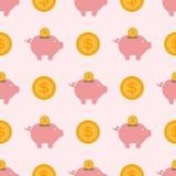 Vector sparen economie van het het ontwerpbankwezen van het geldspaarvarken de vlakke sparen naadloze het patroonachtergrond van  vector illustratie