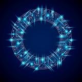 Vector sparkling circuit board circle, digital technologies abst. Raction. Blue shine computer microprocessor scheme, neon futuristic design Stock Photos