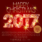 Vector sparkling Happy Christmas 2017 greeting card Royalty Free Stock Photography