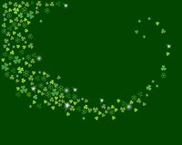 Vector sparkling stream from clover shamrock leaves  on dark green background Royalty Free Stock Photos
