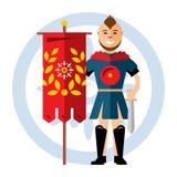 Vector Spartaanse strijder met de rode vlag De vlakke illustratie van het stijl kleurrijke Beeldverhaal Stock Foto