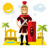 Vector Spartan warrior. Flat style colorful Cartoon illustration. The Ancient soldier with sword and shield. Isolated on a white background Royalty Free Stock Photo