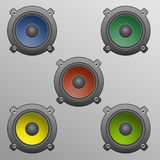 Vector speakers. In diffrent colors Stock Photography