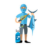 Vector Spearfisher with large Marlin fish. Spearfishing. Flat style colorful Cartoon illustration. Underwater hunter with trophies.  on a white background Royalty Free Stock Photo