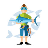 Vector Spearfisher with large Marlin fish. Spearfishing. Flat style colorful Cartoon illustration. Underwater hunter with trophies. Isolated on a white Royalty Free Stock Image