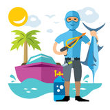 Vector Spearfisher with large Marlin fish. Spearfishing. Flat style colorful Cartoon illustration. Underwater hunter with trophies. Isolated on a white Stock Image