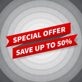 Vector special offer banner on black circle background Stock Image