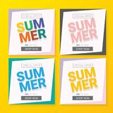 Vector special offer summer label design template. Summer sale banner or badge with beautiful sun and calligraphic text on orange background Royalty Free Stock Photography