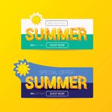 Vector special offer summer label design template. Summer sale banner or badge with beautiful sun and calligraphic text on orange background Royalty Free Stock Images