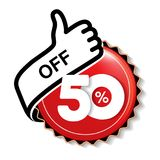 Vector special sale offer. Red tag with best choice. Discount offer price label with hand gesture. Sticker of 50 % off. Illustration Royalty Free Illustration