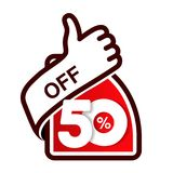 Vector special sale offer. Red tag with best choice. Discount offer price label with hand gesture. Sticker of 50 % off. Illustration Royalty Free Stock Photo
