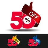 Vector special sale offer. Red tag with best choice. Discount offer price label with hand gesture. Sticker of 50 % off. Illustration Royalty Free Stock Images