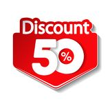 Vector special sale offer. Red tag 50 % off. Illustration Stock Image