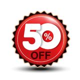 Vector special sale offer. Red tag 50 % off. Illustration Stock Photo