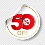Vector special sale offer. White tag with red 50 % off. Discount offer price label. Circular sticker, coupon. Illustration Stock Photo