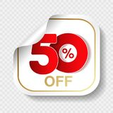 Vector special sale offer. White tag with red 50 % off. Discount offer price label. Square sticker, coupon. Illustration Stock Image