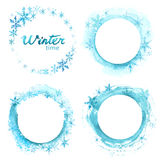Vector special winter offer on white background. Hand drawn watercolor blue stains set. Stock Photo