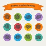 Vector Speech black doodle  scrabble bubbles Stock Photo