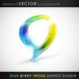 Vector speech bubble. Speech bubble with light effects. Semitransparent overlying shapes forming an abstract bubble in shades of blue, green and yellow. Space Stock Images
